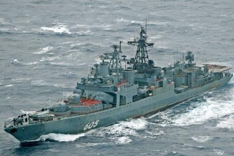Российский миноносец «Адмирал Левченко» около побережья Норвегии во время военных учений 2009 года