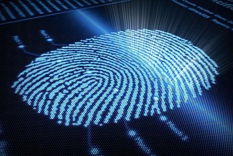 Футуристическая проекция отпечатка пальца человека