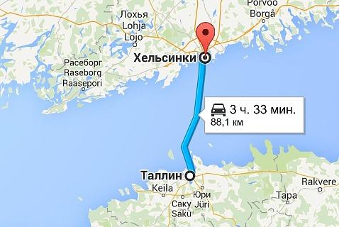Паром из Таллинна в Хельсинки идет 3 часа 33 минуты. Расстояние: 88 км