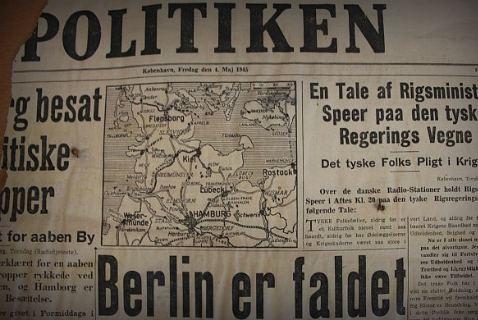 Номер датской газеты Politiken от 4 мая 1945 года с новостью о победе над фашизмом