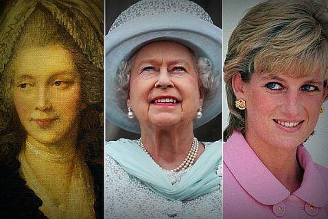 Королева Шарлотта, королева Елизавета и принцесса Диана