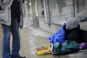Нищий на улице Стокгольма