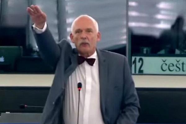 Ннацистское приветсвие Януша Корвин-Микке в Европейском парламенте (фото)