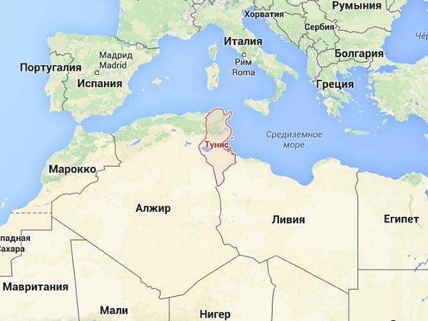Тунис на карте Северной Африки (фото)
