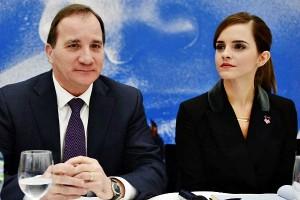 Стефан Лёвен и Эмма Уотсон на Международном экономическом форуме 2015 в Давосе