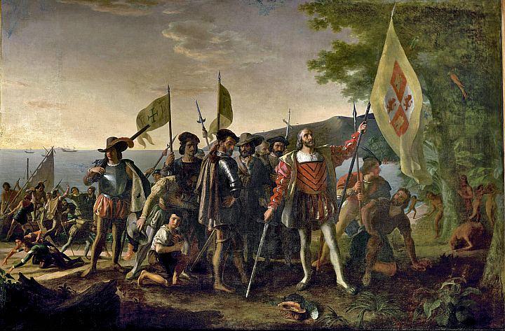 Картина американского художника Джона Вандерлина «Высадка Колумба в Америке 12 октября 1492 года»