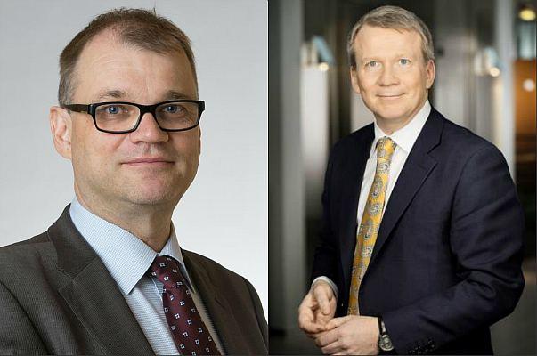 Премьер-министр Финляндии Юха Сипиля и уволенный с поста президента Outokumpu Мика Сейтовирта
