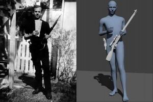 Фотография Ли Харви Освальда на заднем двое и его компьютерная модель