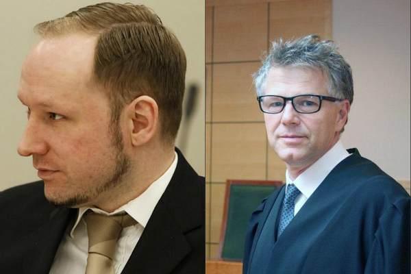 Андерс Брейвик и его адвокат Ойстейн Сторрвик