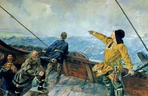 Лейф Эрикссон открывает Америку. Кристиан Крог, 1893 г.