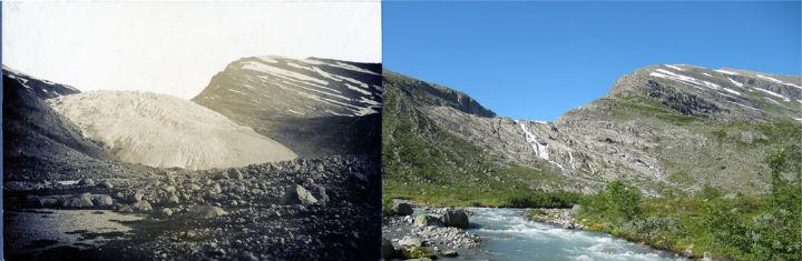 Ледник Haugabreen в 1930 году и сейчас