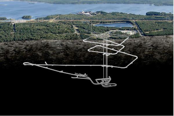 Схематичное изображение подземного хранилища ядерных отходов Posiva Oy
