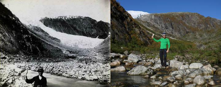 Ледник Supphellebreen в 1884 году и сейчас