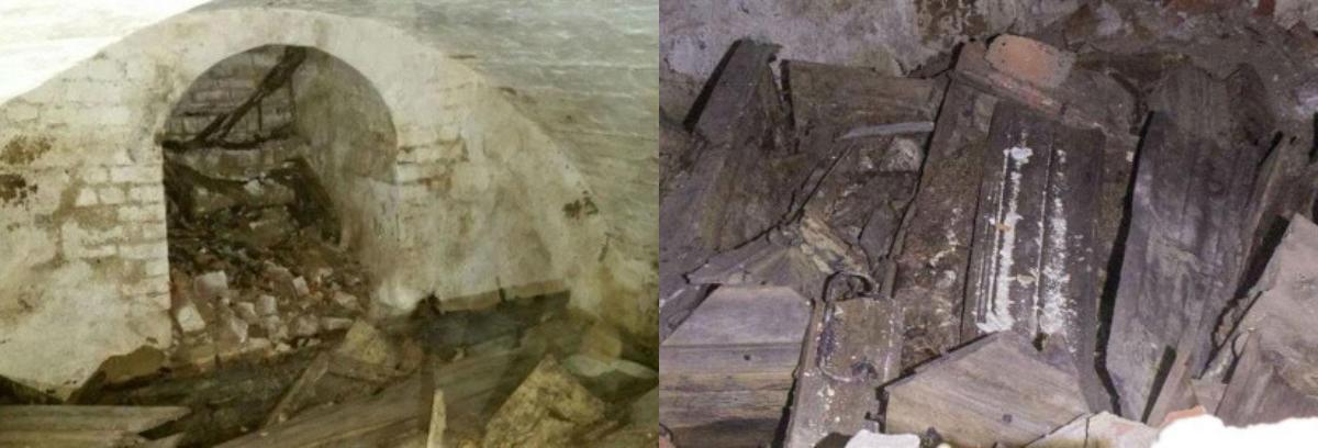 Склеп и гробы в шведской церкви