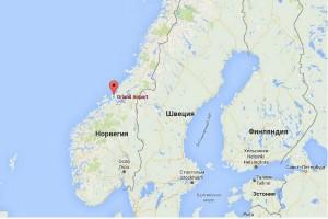 Аэропорт Эрланн на карте Норвегии, место одного из древнейших найденных поселений викингов