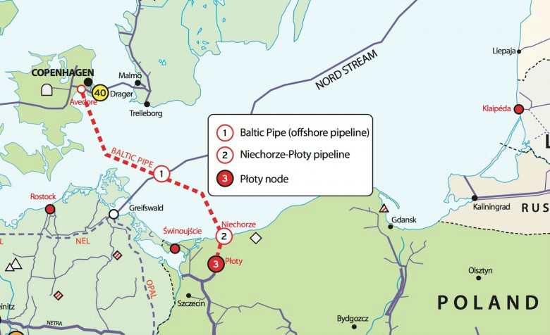 Карта-схема газопровода Baltic Pipe