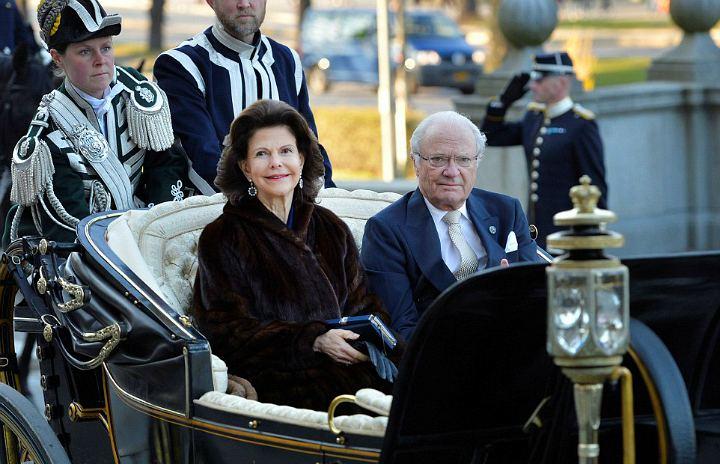 Король Карл XVI Густав с супругой королевой Сильвией на своем 70-летии