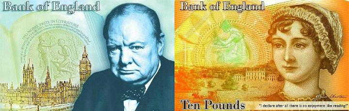 Уинстон Черчилль и Джейн Остин на новых фунтах стерлингов