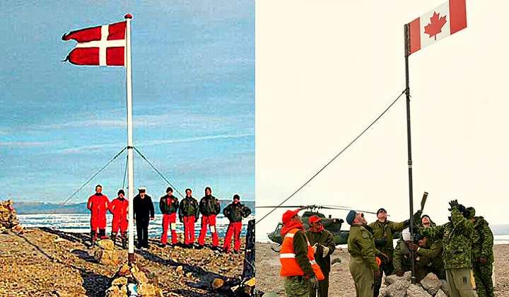 Флаги Дании и Канады на острове Ганса