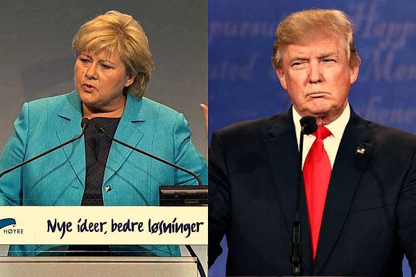 Лидеры Норвегии и США: Эрна Солберг и Дональд Трамп